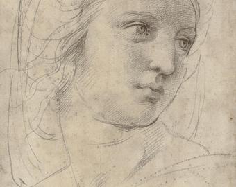 Copie de Raffaello, tête d'une Muse, Raphael dessin, Renaissance de l'art