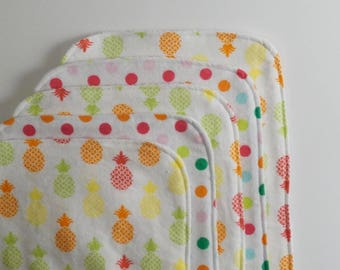 Pineapple and Polka Dots Contoured Burp Cloths: Set of Five