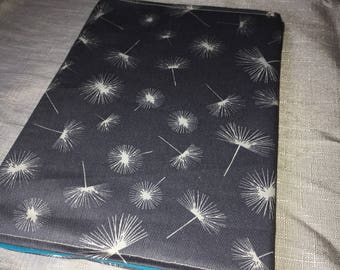 A5 fabric cover for notebook - dandelion wishes -grey