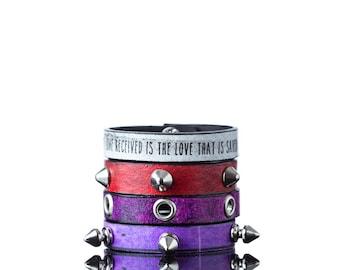 Colours of Life - Multiple Colors | Four Part Leather Bracelet, Handmade, Faux Leather Eco Leather, Bracelet, Print, Quote, Multicolored