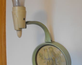 Antique Green Parrots Wall Sconce Lamp Electric 1940's     (1092)