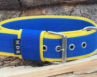 "Dog collar - dog - collar strap - collar Doggy ""Colors - BleuRoyal/yellow"