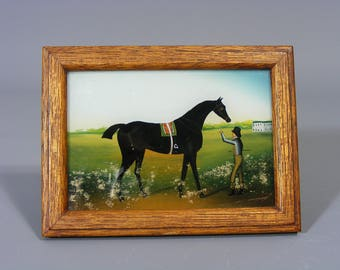 Antique Box, Reverse Painted Glass Lid,  Vintage box. Trinket box, Jewelry Box, Hand Painted Box, Horse, Black Stallion, Free UK Postage