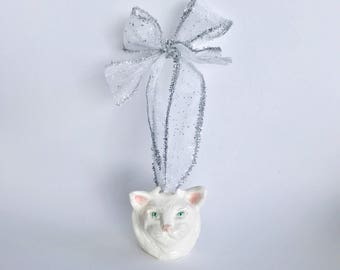 Handmade Christmas Tree Cat Ornament