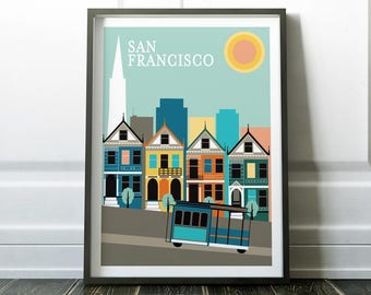 San Francisco Poster Print Travel Print Art Prints Wall Decor Modern Poster Modern Travel Art City Scape San Francisco Print Wall Art Prints