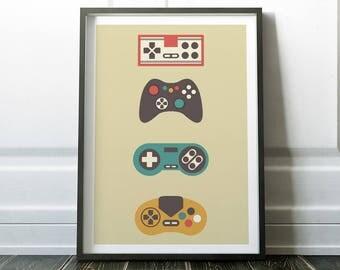 Gamer Print, Wall Art, Retro Wall Art, Retro Gamer, Digital Print, Retro Print, Wall Art Print, Gamer Wall Art, Gift for Gamer, Retro Gaming