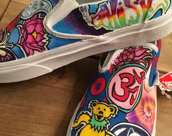 Customized personalized hand painted yoga buddha Grateful Dead vans sneakers