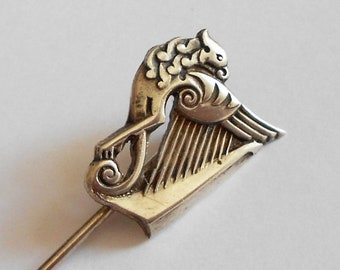 Hallmarked Irish Silver Harp Lapel Pin, Vintage Stick Pin, Hat Pin, Dublin 1953, Celtic Decoration