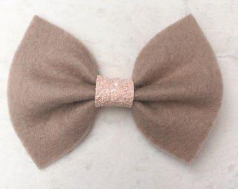 Felt bow - brown fet bow - baby headband