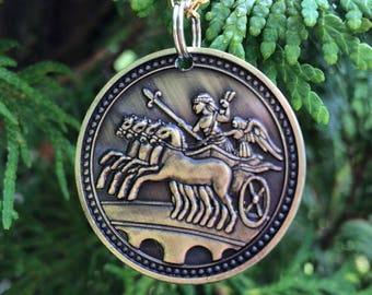 Roman Coin Style Keychain // Pendant // Key Fob // Necklace // Ancient Rome // Mercury // Roman // Chariot // Hermes // Roman God