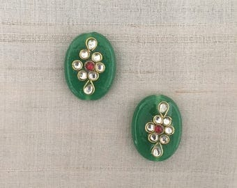 Deep Green Glass Buttons Beads,Indian Oval Kundan Button Rajasthan Traditional Handmade Button,Sewing Jewellery Flat Back Bead,2X2.5cm,2 pcs
