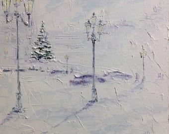 Winter Painting Small Ukrainian Painting Snow Painting Christmas Tree Painting Oil Painting Canvas Impasto Painting Christmas Gift Canvas