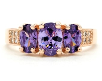 Real rose gold plated ring with purple oval and clear white gemstones, purple gems deep, genuine rose gold, black gift box purple ring bag
