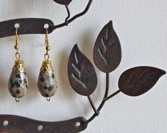 Spotty stone drop earrings