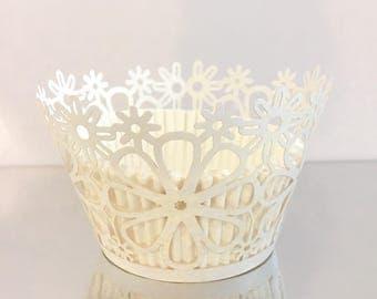 Beautiful White Cupcake Wrapper - Flowers