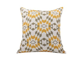 Geometric decorative pillow cover Aztec throw pillow covers Linen pillow cases Rustic cushion cover Home decor gift 18x18