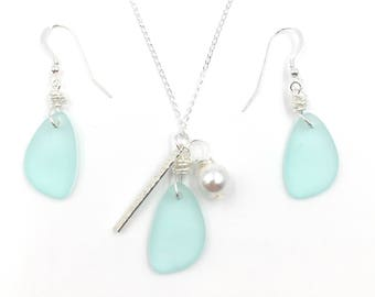 SET Sea Foam GREEN Sea Glass Earrings Sterling Silver Hooks Pearl, and Sterling Silver Bar Necklace on Sterling Silver Chain