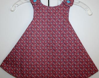 18 months, Burgandy and Light Blue Flower Reversible Sundress with Multi Color Print.