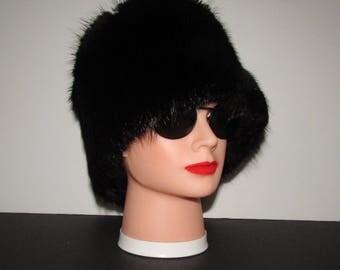 superbe riche et luxueux  bandeau de fourrure de rat musqué noir /Superb  rich/luxurious black muskrat  fur headband
