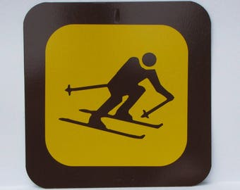"Nostalgic Provincial Park / State sign - 12"" square - New Old Stock - Never Installed - DOWNHILL SKIING - FREE Shipping"