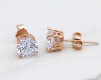 Rose Gold Stud Earrings, Sterling Silver Stud Earrings, Hypoallergenic Stud Earrings, Simple Jewelry E013