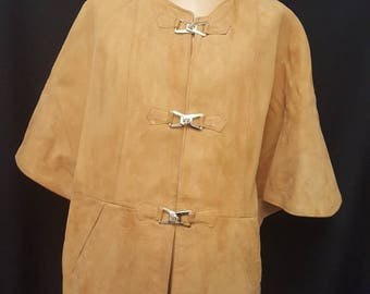 Vintage 70s Tan Brown Leather Suede Groovy Boho Cape Jacket Coat Capelet Toggle Size M-L