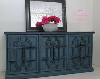 vintage dresser ornate dresser bassett dresser shabby chic dresser blue gray - Painted Tv Consoles