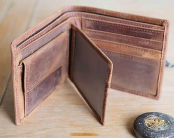 Handmade Distressed Leather Wallet, Tri-Fold Leather Wallet, Boyfriend Gift, Husband Gift, Distressed Wallet, Gift for Him, Groomsman Gift,