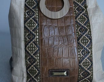 Croco-embossed Leather Backpack Purse Joanel/Sac à dos pour voyage en cuir style croco -marque Joanel
