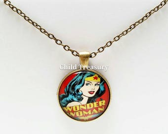 Wonder Woman Pendant Necklace/Wonder Woman Necklace/Wonder Woman Pendant Chain/Wonder Woman Accessory/Super Hero Necklace/Kids Necklace