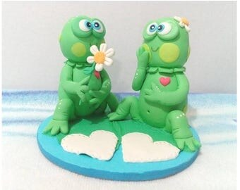 Wedding cake topper, Cake Topper Wedding, Cake Topper, Frogs cold porcelain, wedding Frogs, Toads porcelaine froide, topper cake frogs, Frog