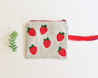 Hand Embroidered Zip Pouch - Strawberries