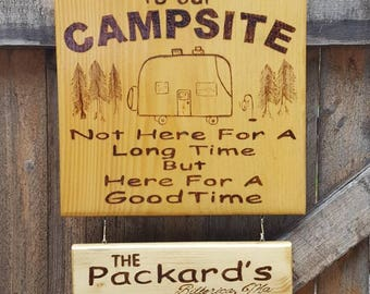 Camping signs with quotes and sayings,wood burned camping signs that can be personalized, campground must haves, seasonal camping,gift,camp