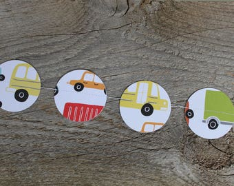 GO TRUCK GO paper garland for nursery, baby shower or classroom