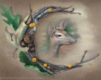 Deer Spirit by Leanne Peters - Spirit Animal Art - Deer Art