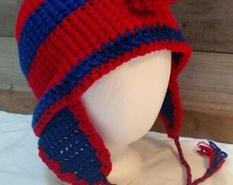 Two Tone Crochet Ear Flap Mohawk Hat