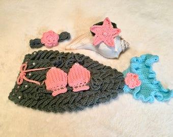 Sale! Crochet Baby Mermaid Tail  Set, Photo Prop, Costume, baby gift