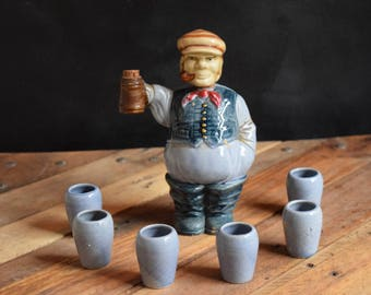 Decanter/Decanter Shot Set/Bar Ware/60's Bar/Irish Bar Keep /Ceramic/Liquor Decanter