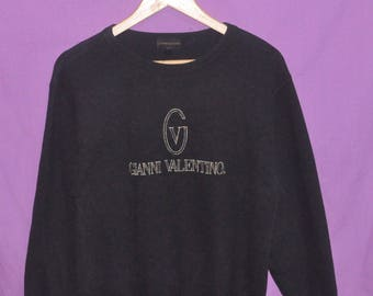 Vintage Gianni Valentino Embroidery Logo Black Sweatshirt Crewneck Sweater Small Size