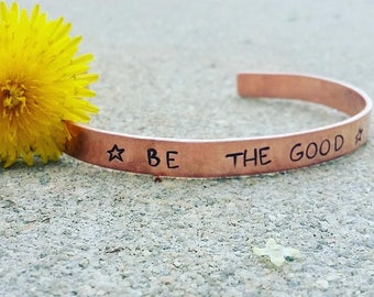 thin copper bracelet ''be the good''