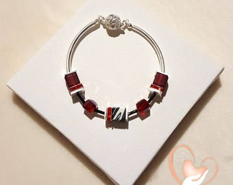 Bracelet silver red elegance - the heart of the arts