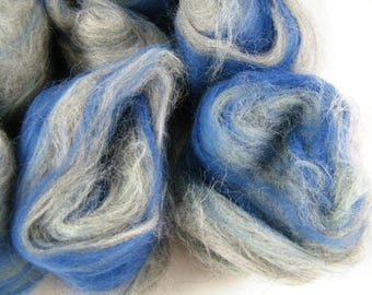 Sea Blue & Grey Art Batt - Handmade in Canada - Superwash Merino - Drum Carder Produced - Great for Spinning