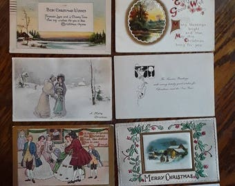 10 Nice Antique Christmas Greetings Post Cards Vintage Ephemera Lot Victorian Art Deco