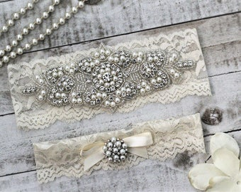 Pearl Ivory Wedding Garter Set NO SLIP grip vintage rhinestones, pearl and rhinestone garter set