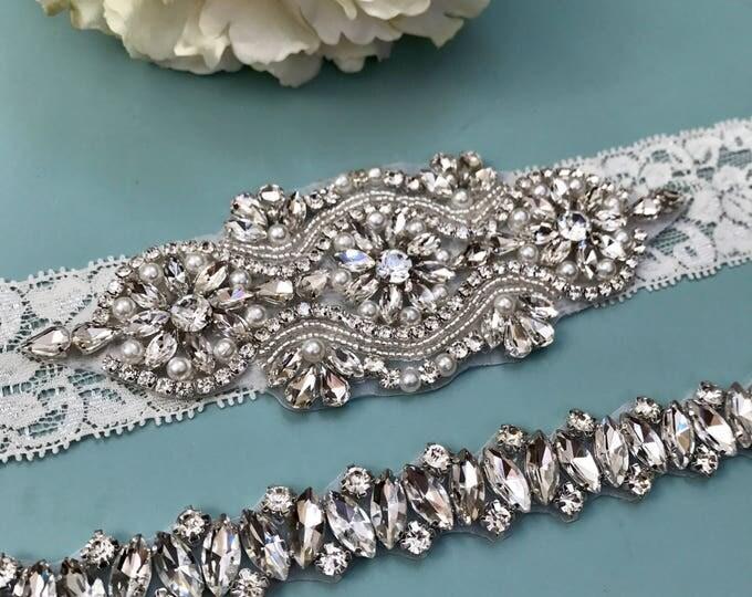 Wedding garter, Elegent antique ivory Wedding Garter Set NO SLIP grip vintage rhinestones bridal garter