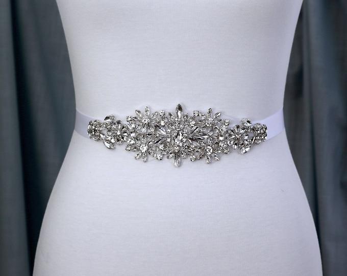 Bridal sash, Wedding Dress Belt, Wedding Sash Rhinestone prom belt
