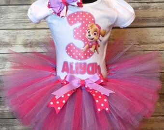 Paw patrol inspired girls shirt tutu set skye