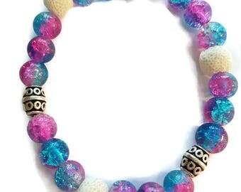 Diffuser Bracelet, Aromatherapy Bracelet, Essential Oil Diffuser Bracelet, Stretchy Bracelet, Beaded Bracelet, Pink and Blue Bracelet