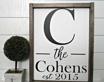 Family Name Sign, Framed wood sign, Established Sign, Wedding Sign, Personalized Family Name Sign, new home, Mothers day personalized gift