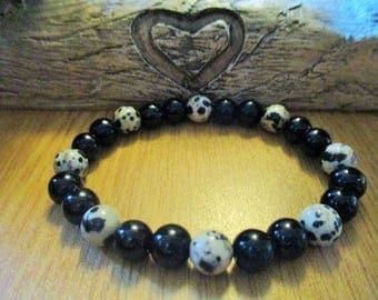 Dalmatian Jasper and Black Onyx Bracelet